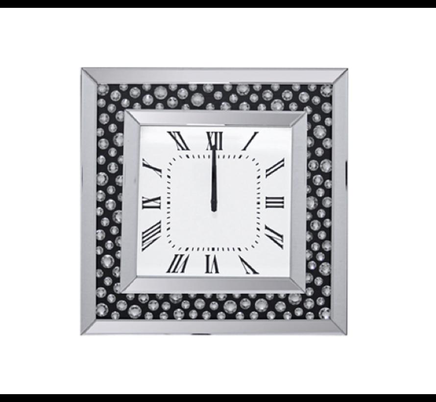 Perro Mirror - Klok - Stil Uurwerk - 50 x 50 cm - Vierkant - Spiegelglas