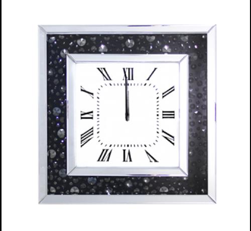 Bacasad Mirror - Klok - Stil Uurwerk - 50 x 50 cm - Vierkant - Antraciet/Spiegelglas