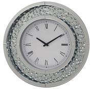 Abayo Mirror - Klok - Stil Uurwerk - 50 cm - Rond - Spiegelglas