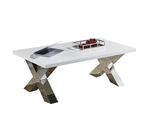 Salontafel Magnum Zilver - Witte MDF tafelblad - 130 x 70 cm