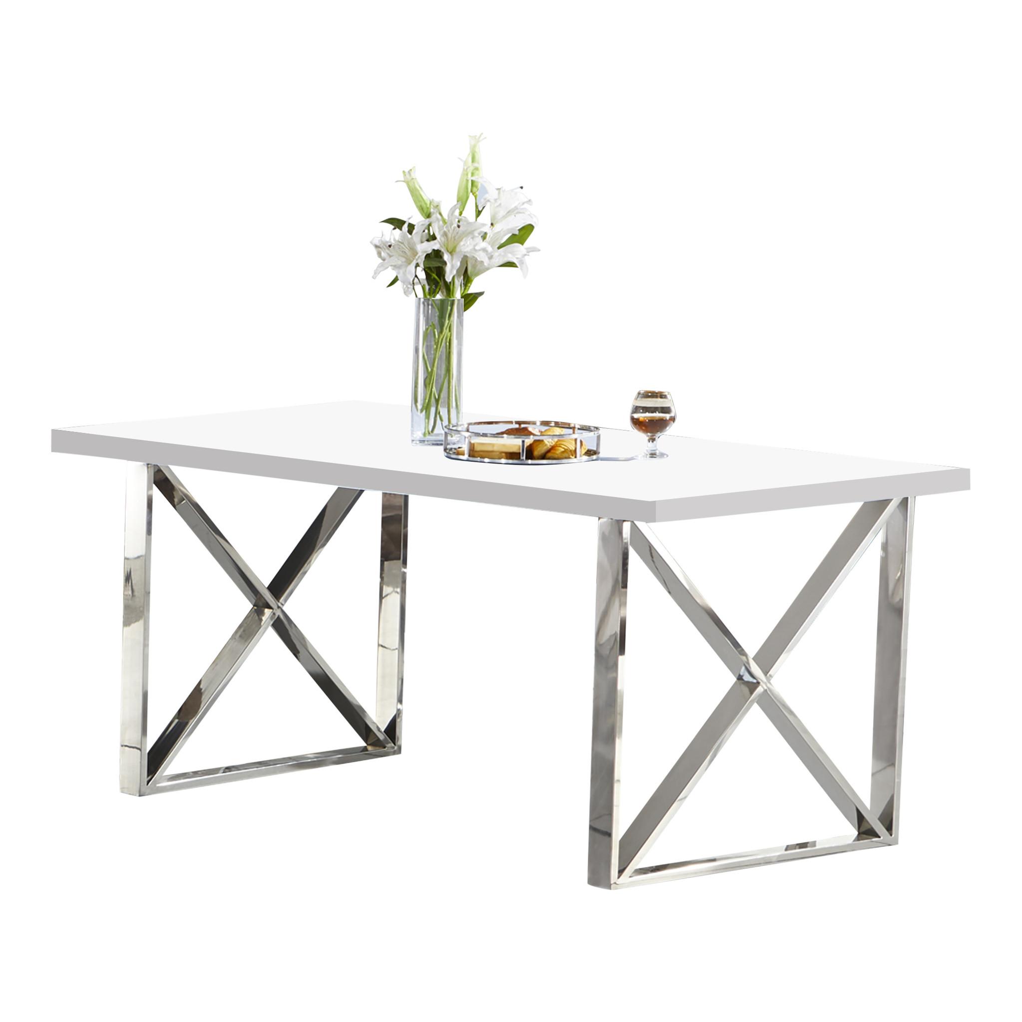 Moderne Witte Eettafel.Eettafel Met Een Witte Mdf Tafelblad Kopen Bekijk Deze Snel Op Bazaaronline Nl