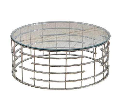 Salontafel Rondi Zilver met een transparante tafelblad