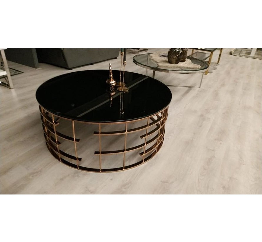 Salontafel Rondi Goud met een transparant tafelblad
