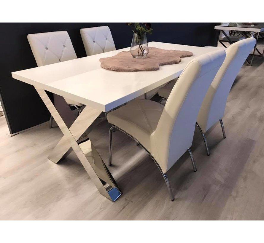 Eettafel Magnum Zilver / Wit 160 x 90 CM