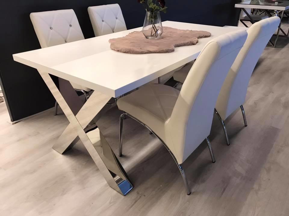 Moderne Witte Eettafel.Eettafel Magnum Zilver Wit 160 X 90 Cm