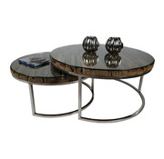 Salontafel Sleeper Wood set van 2 rond Zilver
