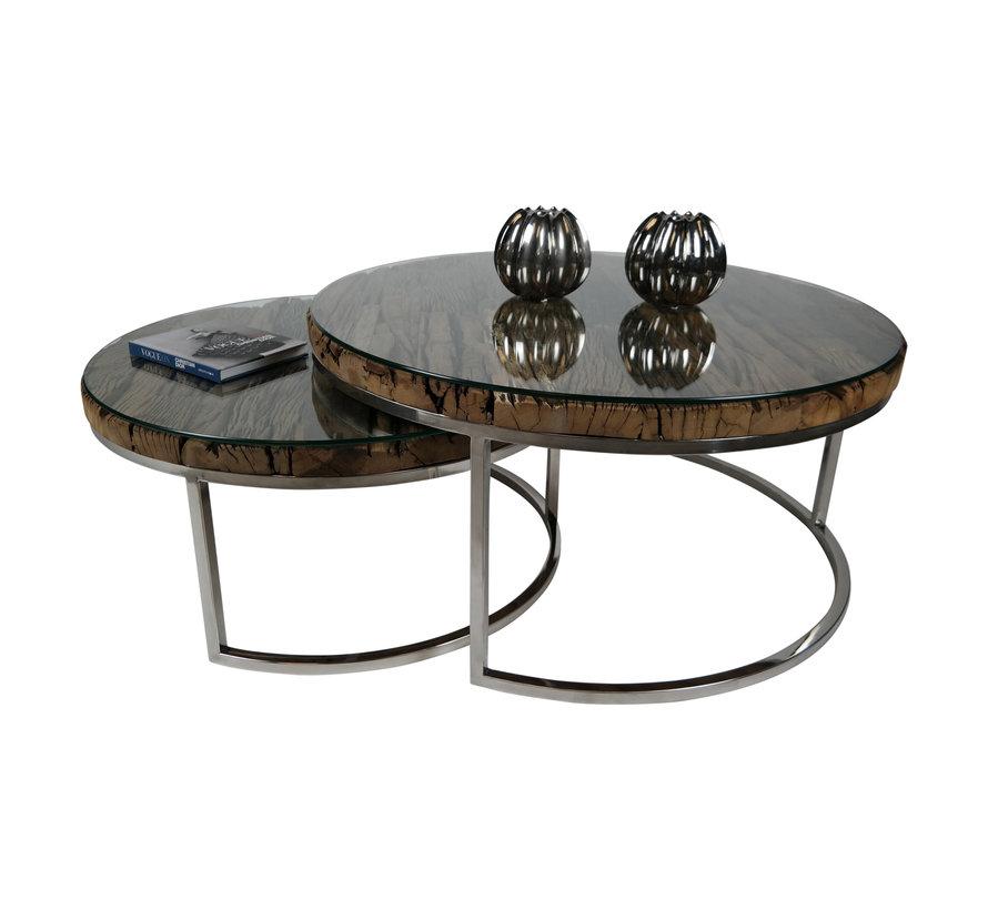 Salontafel Sleeper Wood set van 2 rond Zilver