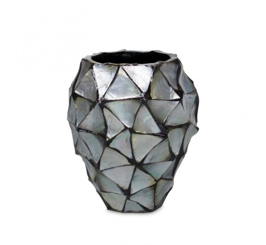Pot Mother of Pearl - Zilver/Blauw - Schelpenvaas