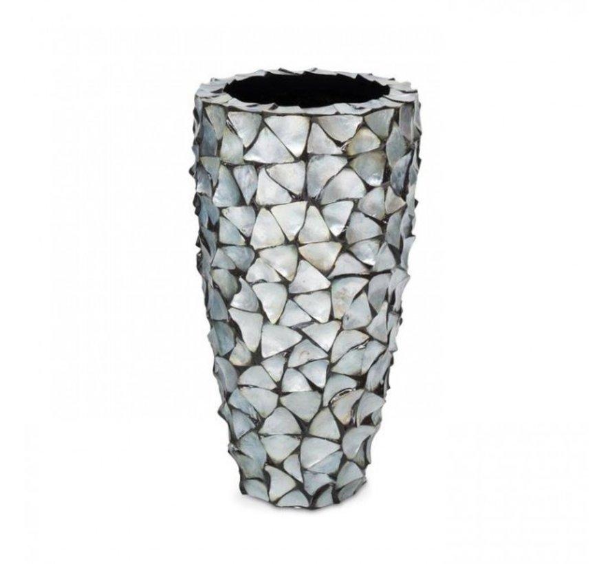 Pot Mother of Pearl D40 H77 - Zilver/Blauw - Schelpenvaas