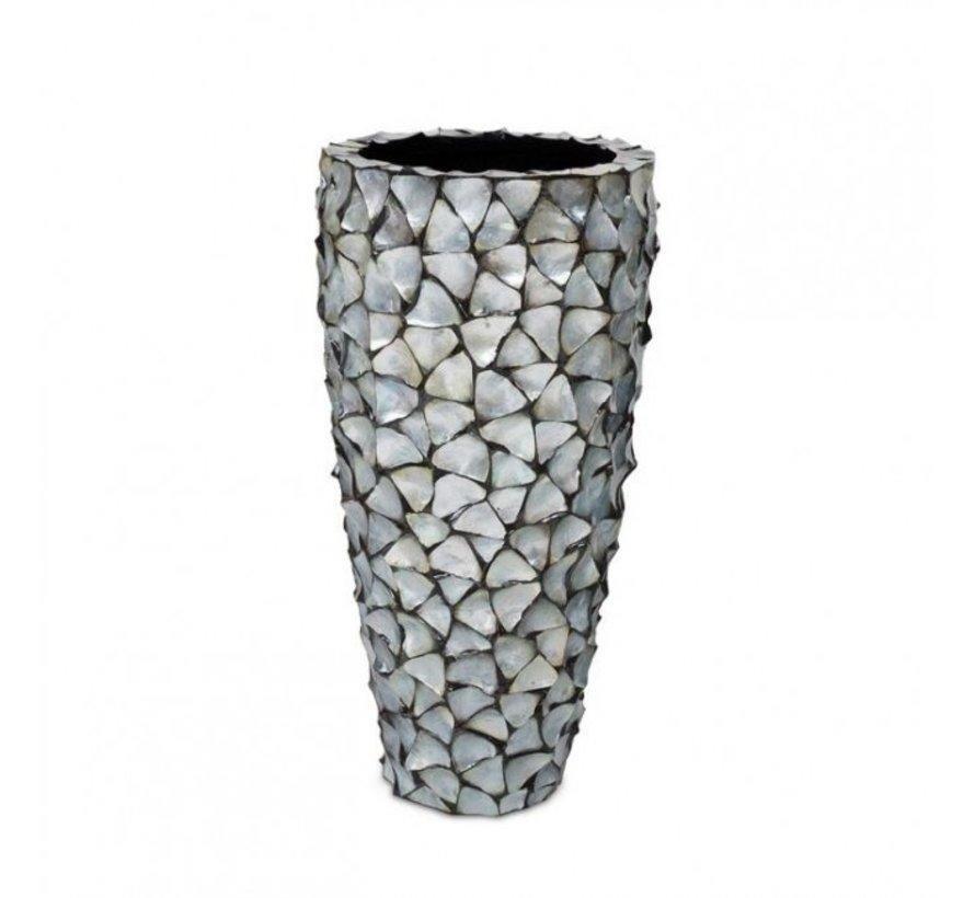 Pot Mother of Pearl D50 H96 - Zilver/Blauw - Schelpenvaas