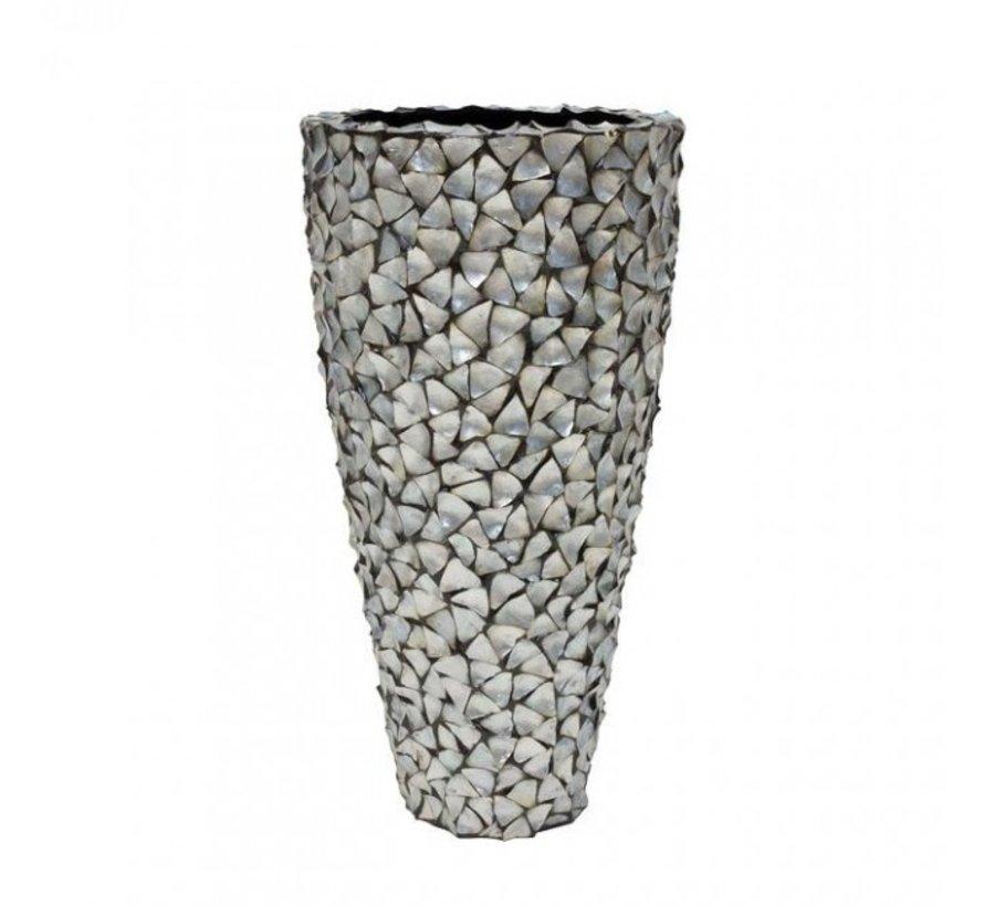 Pot Mother of Pearl D74 H140 - Zilver/Blauw - Schelpenvaas