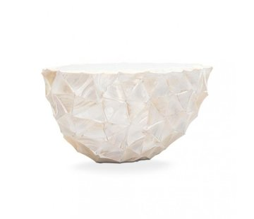 Pot Mother of Pearl L26 B60 H30 cm - Creme - Schelpenvaas