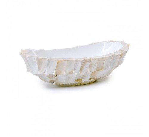 Bowl Mother of Pearl L46 B20 H13 cm - Creme - Schelpenvaas