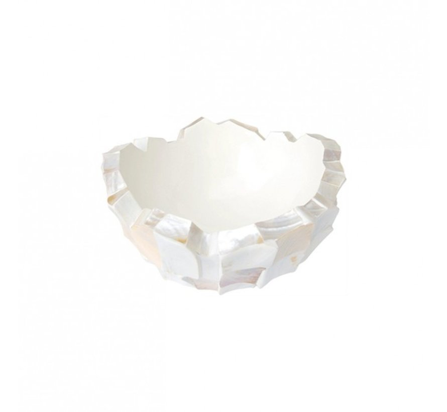 Bowl Mother of Pearl L40 B40 H24 cm - Creme - Schelpenvaas