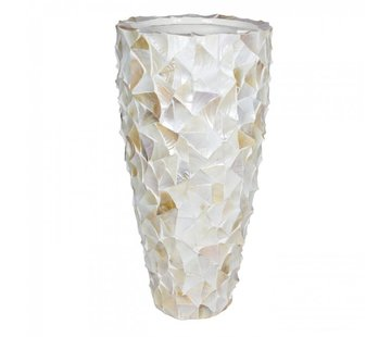 Pot Mother of Pearl D50 H96 - Creme - Schelpenvaas
