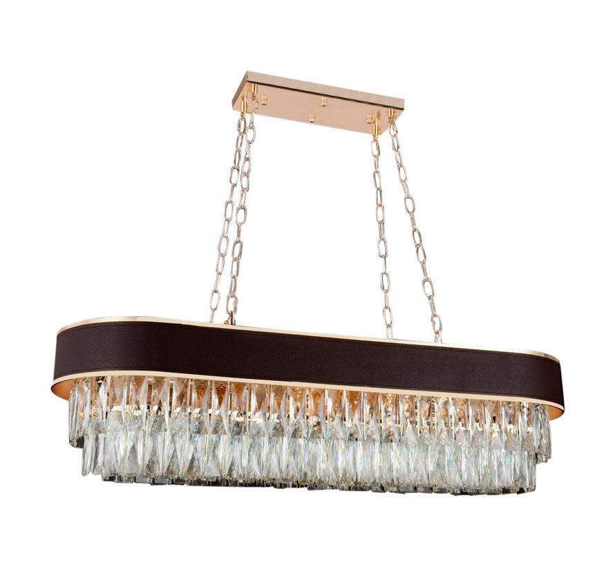 Hanglamp Alonzo Ovaal - Brown Gold / Clear
