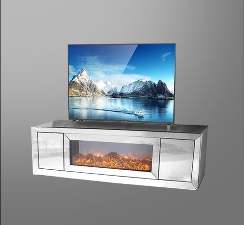 Tv-meubel Oslo Spiegelglas - Zilver - incl. elektrische sfeerhaard