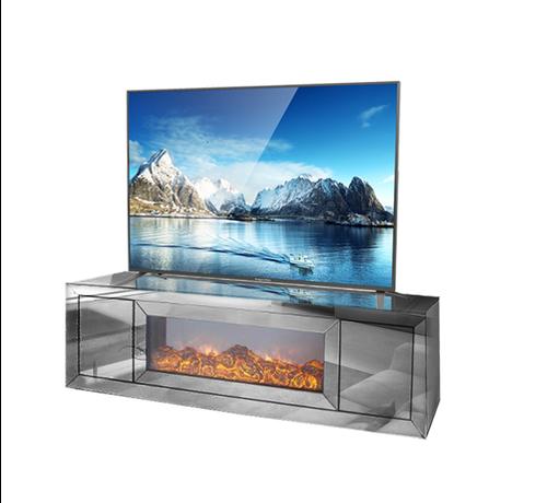 Tv-meubel Oslo Spiegelglas - Antraciet - incl. elektrische sfeerhaard