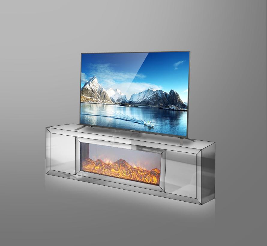 Tv-meubel Oslo Spiegelglas - Wit Spiegel - incl. elektrische sfeerhaard