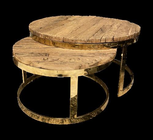 Salontafel Sleeper Wood set van 2 rond Goud
