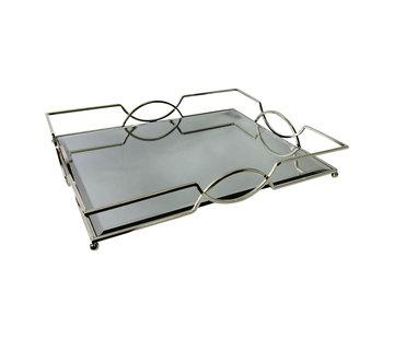 Dienblad Maria - klein - 20 x 40 cm - Zilver / Spiegelglas