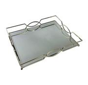 Dienblad Maria - groot - 30 x 50 cm - Zilver / Spiegelglas