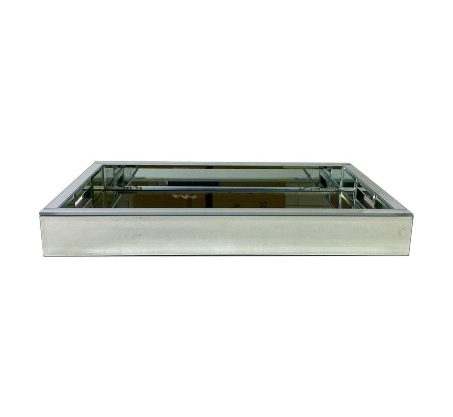 Dienblad Martina - Klein - 25 x 40 cm - Zilver / Spiegelglas