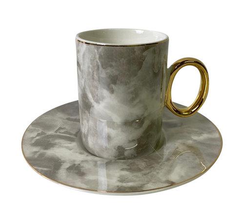Koffieset Monika Marble Grijs/Goud