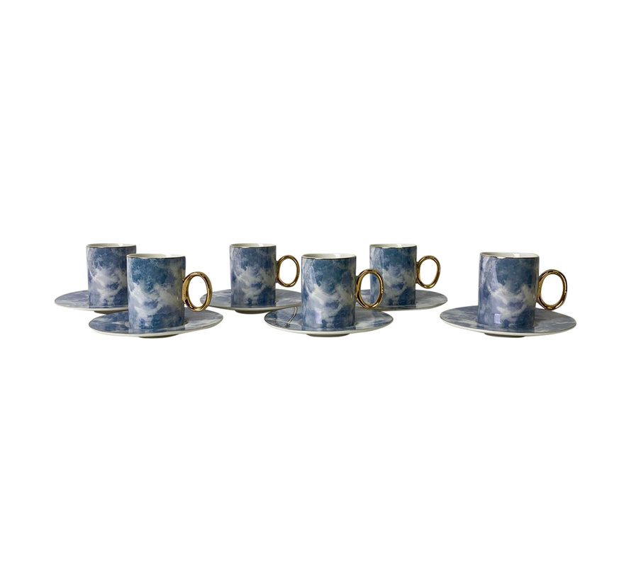 Koffieset Monika Marble Blauw/Goud