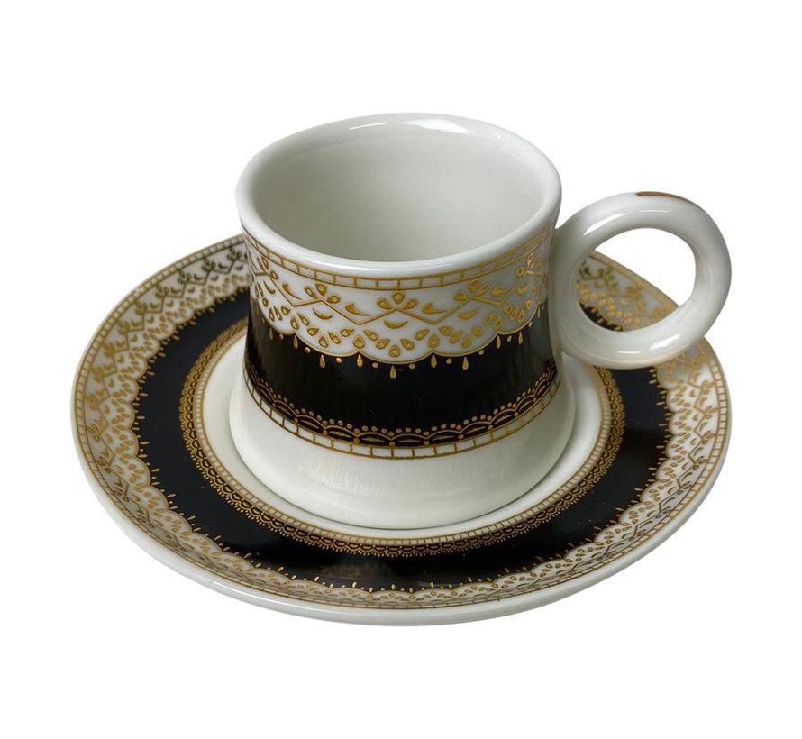 Espresso set Rio Zwart/Goud 6 stuks