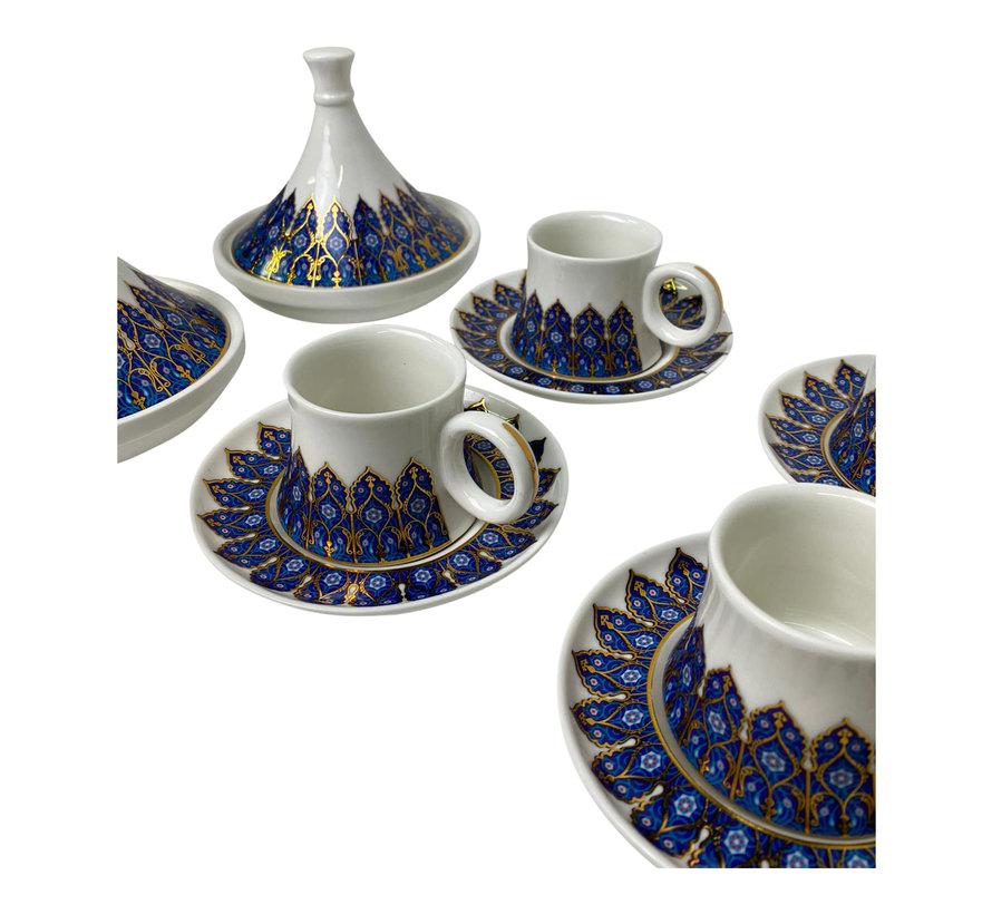 Espresso set Rio Blauw/Goud 6 stuks