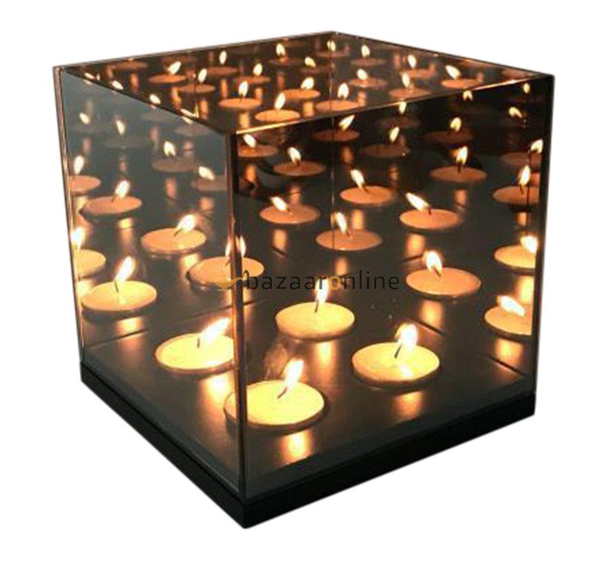 Waxinelichthouder Eric Kuster Stijl -  4 lichts - 15 x 15 x 15 CM