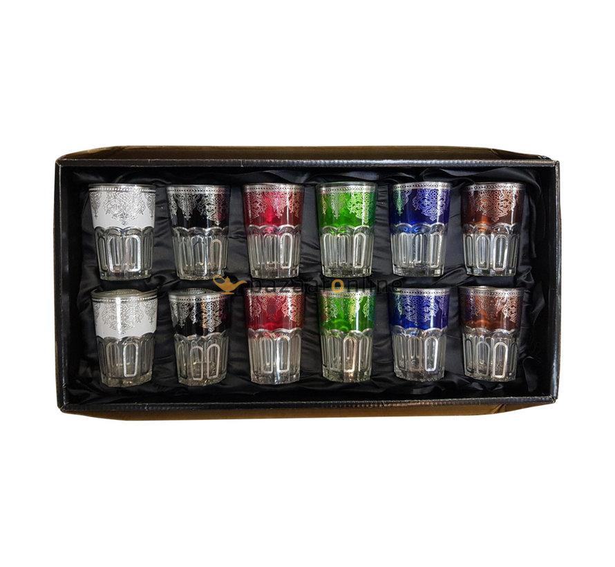 Theeglazen Casa mix kleuren - 12 stuks