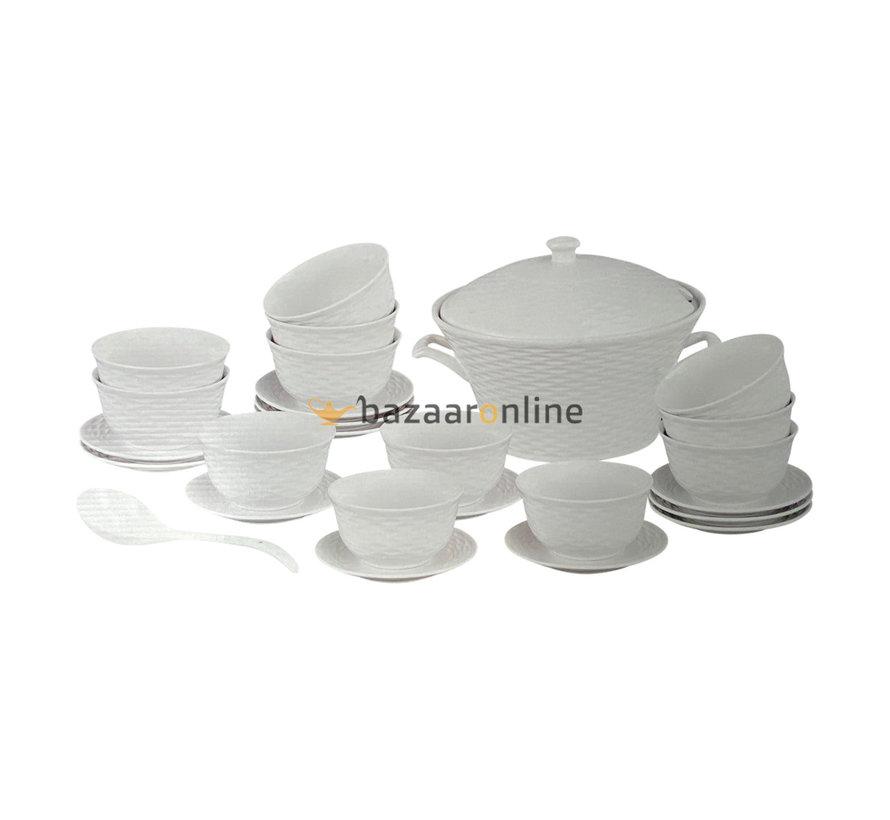 Soep set - 27-delig - Porselein - Strepenprint - 12 persoons