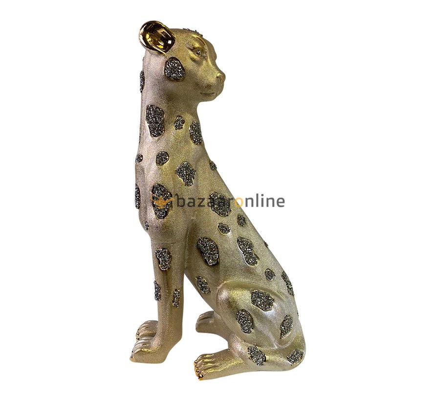 Beeld Panter Glitter Goud - H 46 cm