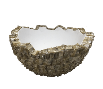 Schelpvaas Bowl 50 cm - Wit Parelmoer