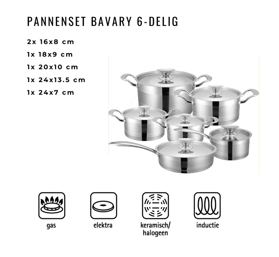 Pannenset is 6 - delig - Inductie - Bavary