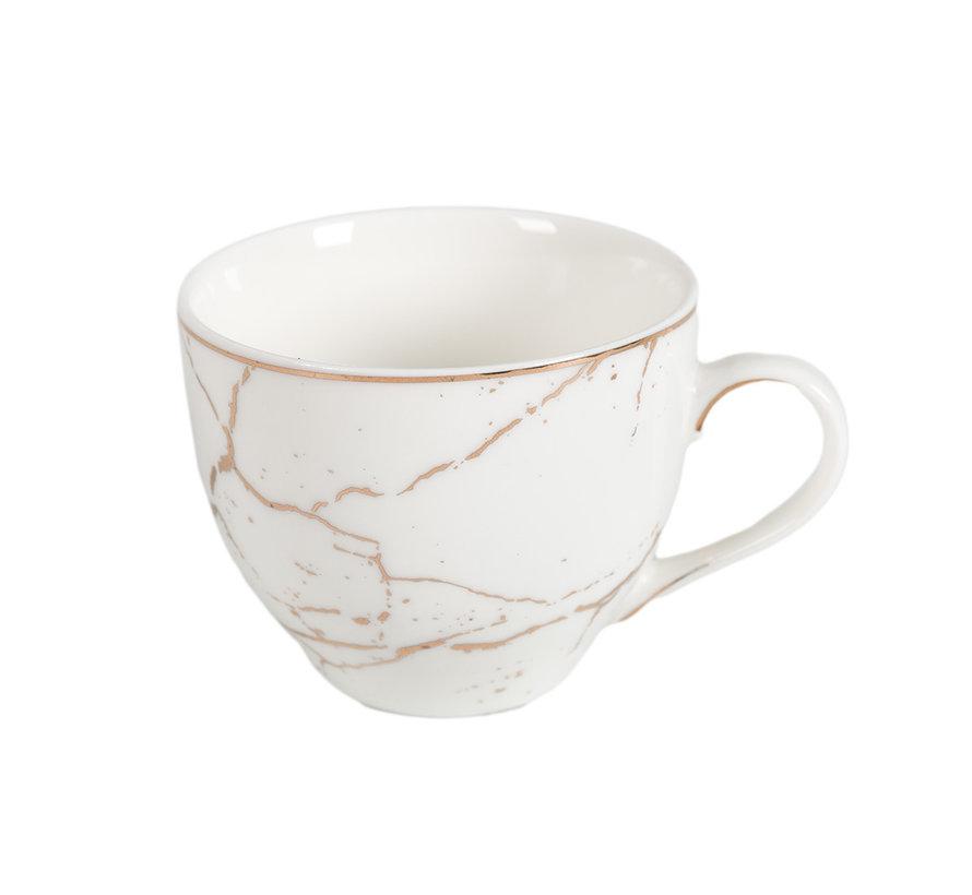 Koffieset - Fantasy - Marmerlook - Wit / Goud - 6 delig