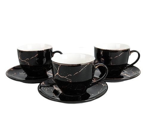 Koffieset - Fantasy - Marmerlook - Zwart / Goud
