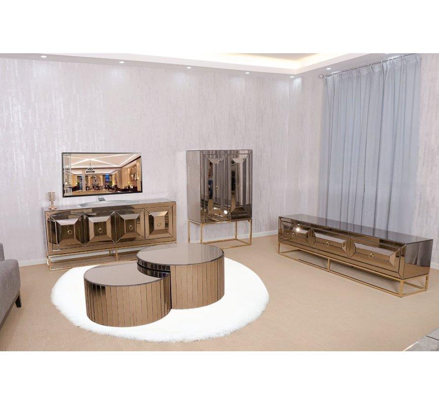 TV-meubel met elektrische sfeerhaard Oxford Sepia / Goud - 180 x 55 x 45 cm