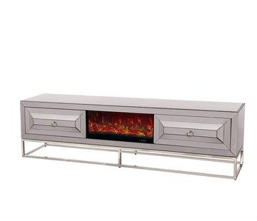 TV-meubel met elektrische sfeerhaard Oxford Antraciet / Zilver