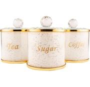 Luxe bewaarpotten Thee Koffie Suiker - Goud