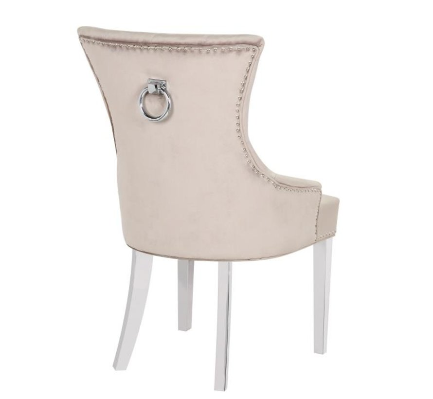 Stoel Cannes Taupe / Silver