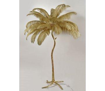 Vloerlamp Palmboom met veren - Gold