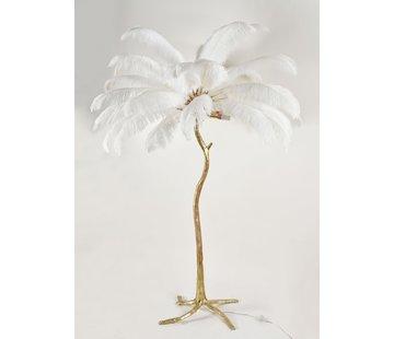 Vloerlamp Palmboom met veren - Gold / White