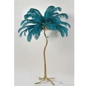 Vloerlamp Palmboom met veren - Gold / Blue