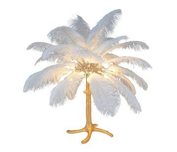 Tafellamp Palmboom met veren - Gold / White