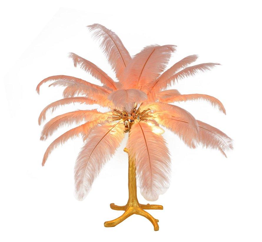 Tafellamp Palmboom met veren - Gold / Roze
