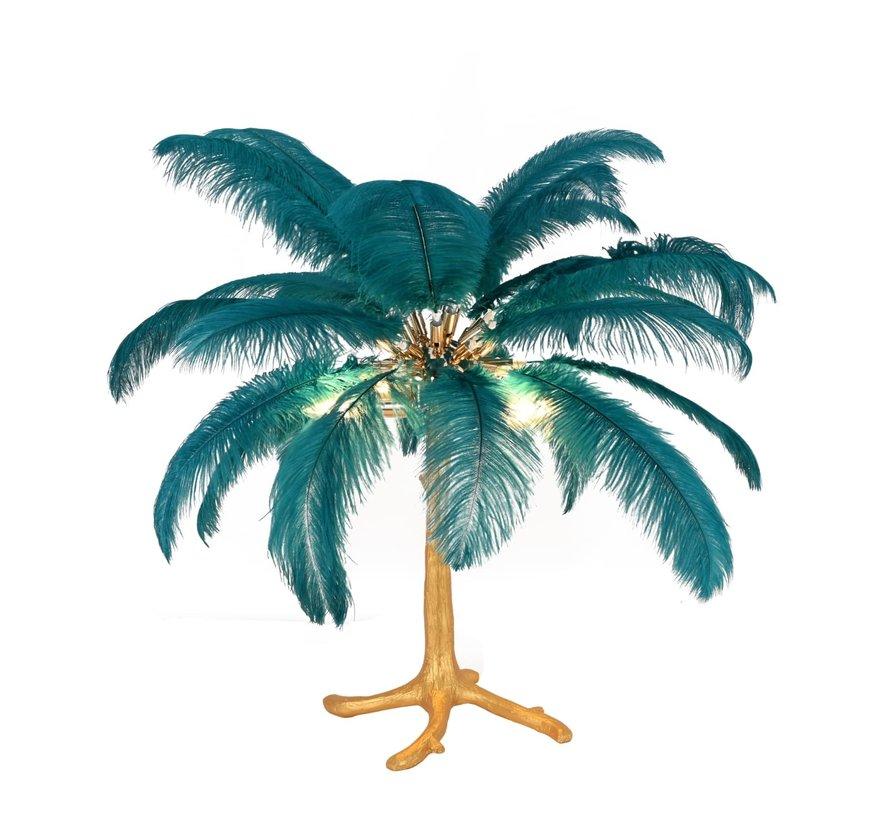 Tafellamp Palmboom met veren - Gold / Blue