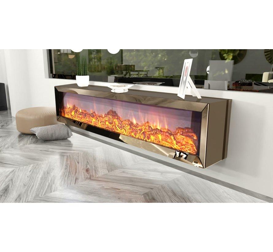 Tv-meubel Dubai Spiegelglas - Brons glas - incl. elektrische sfeerhaard